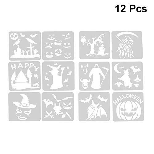 HEALLILY 12-teiliges Halloween-Schablonen-Set Kürbis Fledermaus Hexe Zeichnung Vorlagen Vampir Motto Party Decor DIY Craft Malerei Zubehör für Kinder (weiß Größe 1) Größe 1 weiß