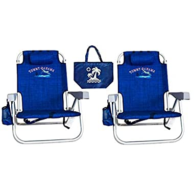 2 Tommy Bahama Backpack Beach Chairs/ Blue + 1 Medium Tote Bag