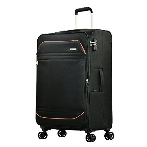Eminent Koffer Barcelona 77 cm 114 L Weichgepäck super leicht 4 Doppelrollen TSA Schloss großer Koffer Schwarz