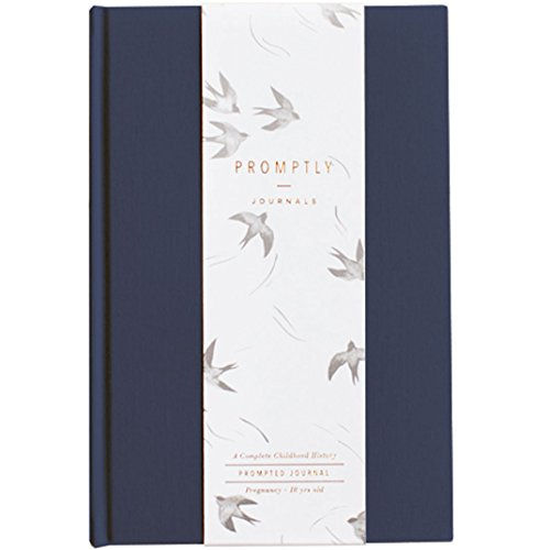 Promptly Journals - Childhood History Journal - Baby Books First Year and Pregnancy Journal - Baby Memory Book from Pregnancy Thru Age 18 (Navy)
