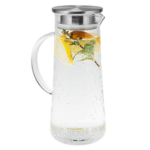 bremermann Glaskaraffe Maja, Wasserkrug mit Edelstahldeckel und integriertem Sieb, matt ca. 1,5 Liter Fassungsvermögen, mit Glasgriff