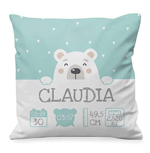 NANNUK - Cojín Nacimiento personalizado oso polar para recién nacidos, se personaliza con nombre, hora, fecha, peso y medida del bebé.