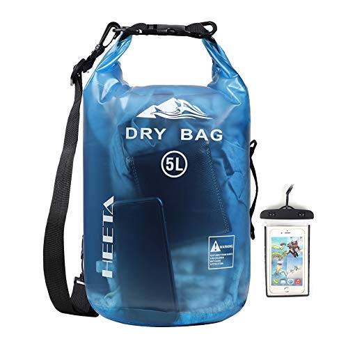 HEETA Waterproof Dry Bag for Women Men, Roll Top Lightweight Dry Storage Bag Backpack with Phone Case for Travel, Swimming, Boating, Kayaking, Camping and Beach, Transparent Blue 5L