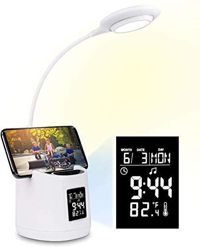 Lámpara de escritorio LED, Morwealth lámpara de mesa Lámpara de noche regulable USB recargable 3 niveles de brillo Lámpara de táctil con despertador para trabajo, oficina, lectura, estudio