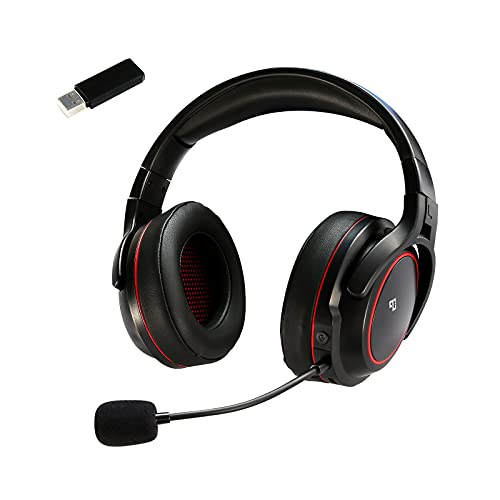 Infurture G2 Wireless Gaming Headset 3D Bass Surround Sound for PC/PS4/PS5,Computer Headset with Detachable Noise Cancelling Microphone Double Chamber Drivers,Low-Latency Over-Ear Gaming Headphones