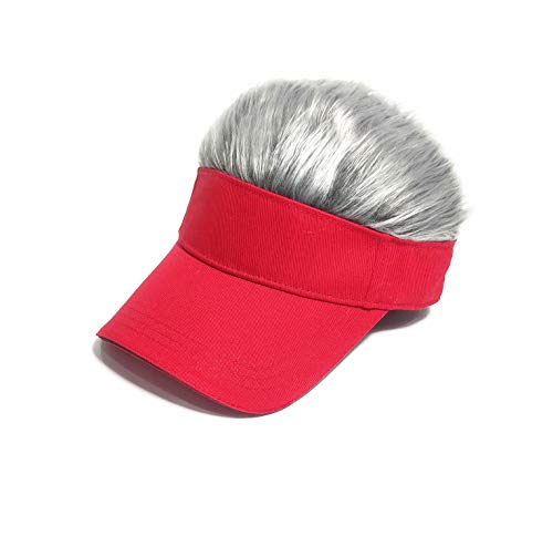 Men's Novelty Flair Hair Visors Spiked Funny Golf Hats Guy Fieri Peaked Fake Wig Adjustable Baseball Caps Birthday Gift Red Grey