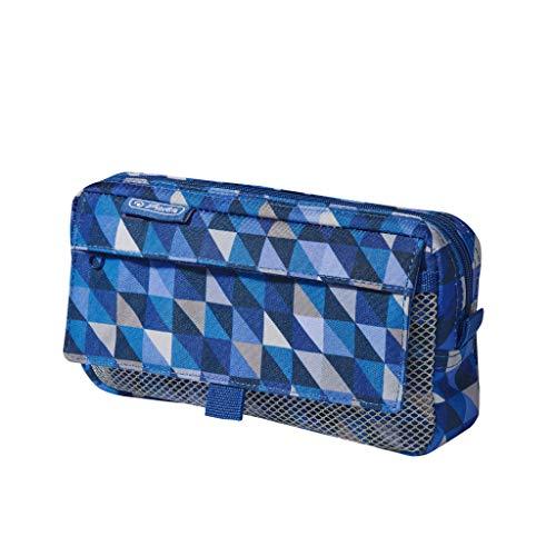 herlitz 50022052 Faulenzer mit 2 Außentaschen Geometric Blue, 1 Stück