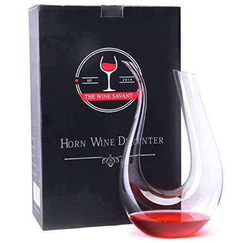 Bellaluee Decantador de cristal en forma de U, cristal transparente en forma de U de Cuerno de Vino Decantador de Vino Tinto