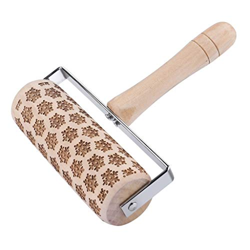 Christmas Rolling Pin for Party -Fheaven Embossing Rolling Pin Best for Fondant, Pie Crust, Cookie, Pastry, Pasta, Pizza Dough - Chef Baker Roller