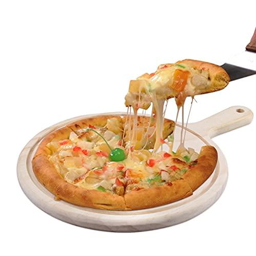 Pizza plate - Pizzaspaddel för hemmagjord pizza och bröd bakning pizza skärbräda lämplig för desserter biffar frukt utomhus picknick (färg: Träfärg, storlek: 25 cm)