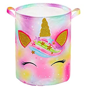 Beinou Unicorn Laundry Hamper 43.3L Waterproof Storage Basket Collapsible Toy Basket Canvas Organizer Basket with Handles for Kids Bedroom Baby Nursery Clothes