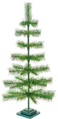 48' Green Alpine Christmas Trees Artificial Indoor Outdoor Classic Tinsel Feather Brush Branches Tabletop Home Holiday Display Tree Base Stand Included - 4FT Tall (Alpine Green)