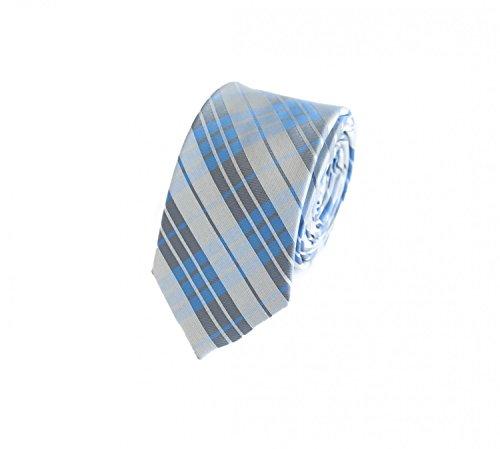 Fabio Farini - elegante corbata estampada en 6 cm de ancho Azul Gris Blanco