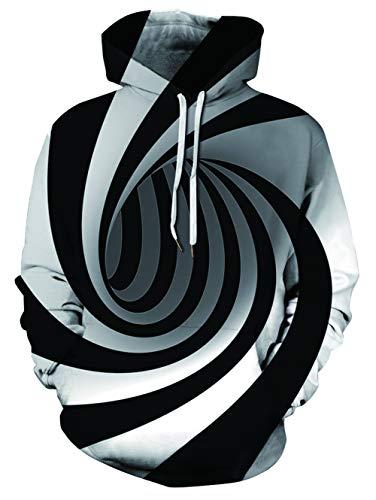 chicolife Hombres de Mujer Novedad 3D Digital Rotación Patrón Camiseta Sudadera Deporte Casual Hoody Ropa