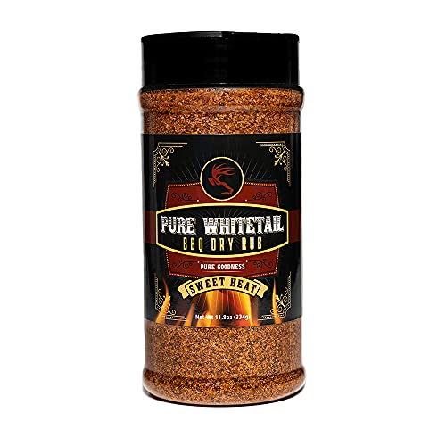 Pure Whitetail Seasoning Sweet Heat BBQ Dry Rub for Grilling & Smoking Beef, Pork, Poultry, Steaks, Chops, Chicken, Ribs, Wild Game