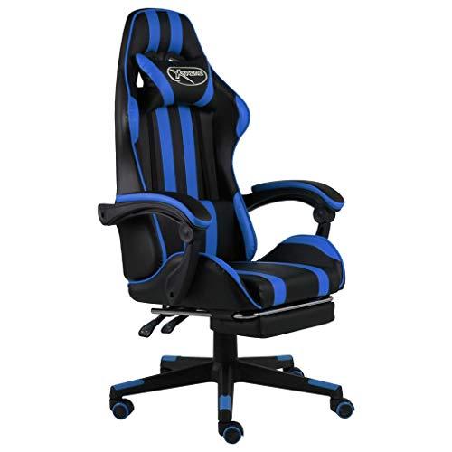 vidaXL Silla para videojuegos con reposapiés, altura regulable, silla de escritorio, silla de oficina, silla giratoria, asiento deportivo, color negro y azul piel sintética