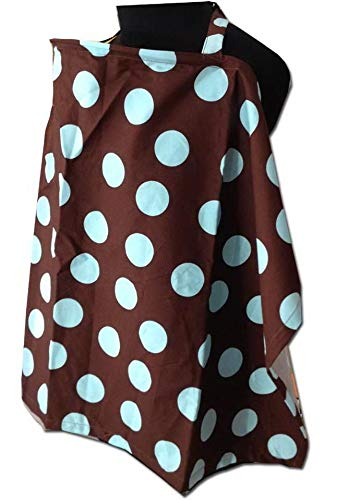 Palm and Pond Breastfeeding Cover - Brown with Baby Blue Spots