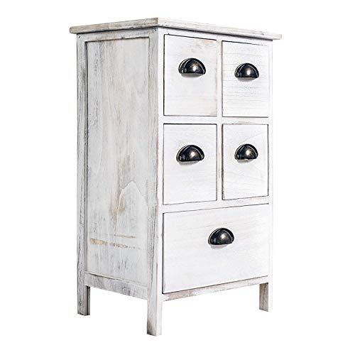 Rebecca Mobili Caisson de Rangement 5 Tiroirs, Commode Blanc, pour Chambre a Coucher Salle de Bain, Bois de Paulownia - Dimensions: 66 x 40 x 30 cm (HxLxL) - Art. RE4106