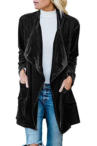 futurino Women's Solid Long Sleeve Velvet Jacket Open Front Cardigan Coat with Pockets Outerwear