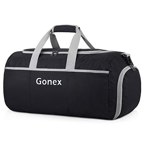 Gonex 90L Packable Travel Duffle, Lightweight Luggage Duffel Sports Gym Bag with Shoe Compartment Black