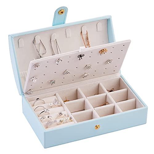 Caja de Joyería, Joyero Simple Portátil, Anillo Joyero Caja de Almacenamiento de Pendientes, Caja de Regalo para Niñas, Mujeres,Blue