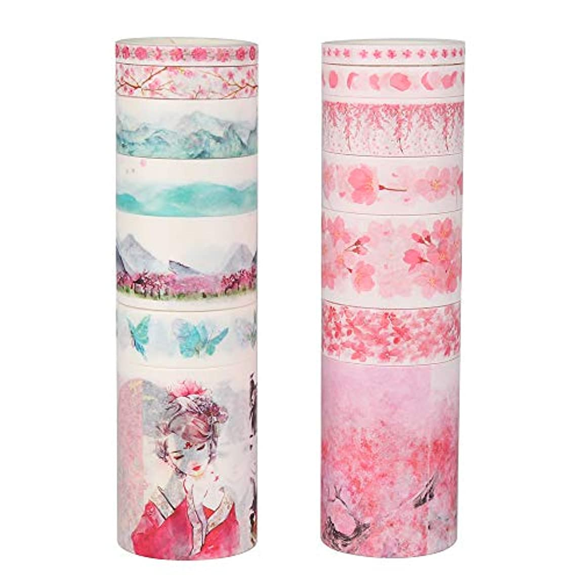 Molshine 16Rolls(Length 6.6ft/Roll) Washi Masking Tape Set,Adhesive Paper,Crafts Tape for DIY,Planners,Scrapbook,Object Decorative,Collection,Gift Wrapping-Cherry Blossom Girl Series mfrok36831841002