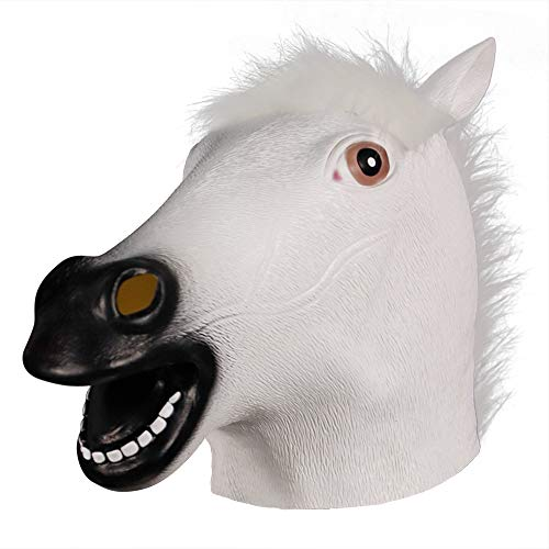 Molezu Brown Horse Mask,Creepy Horse Head Mask,Rubber Latex Animal Mask,Novelty Halloween Costume party (White)