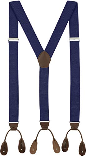 Fashion Accessories Leather Tuxedo Suspenders for Men: Button Pant Braces Clothes Accessory with Elastic, Y Back Design - (Navy Blue)