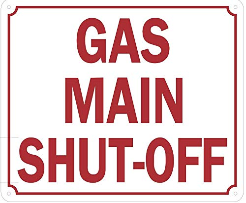Gas Main Shut-Off Sign (Aluminium Reflective, White) Kitchen, Courtyard, Garage Decorations Metal Signs 12X12 Inch