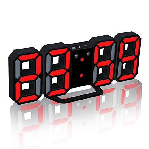 KANKOO funkwecker mit projektion und netzteil projektionswecker Kinderwecker Nachttischuhr Projektionswecker Projektionsuhr digitaler Radiowecker red