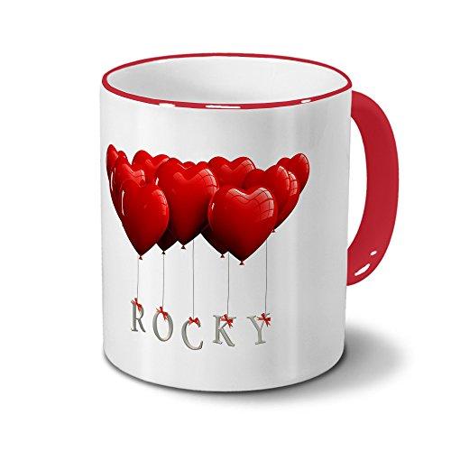 Tasse mit Namen Rocky - Motiv Herzballons - Namenstasse, Kaffeebecher, Mug, Becher, Kaffeetasse - Farbe Rot