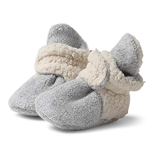 Zutano Cozie Fleece Baby Booties, Unisex Baby Shoes for Infants and Toddlers, 3M, Heather Gray Furry