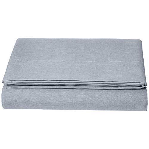 AmazonBasics Bettlaken, Mikrofaser, melierter Stoff, 280 x 320cm + 10 cm, Denim Wash