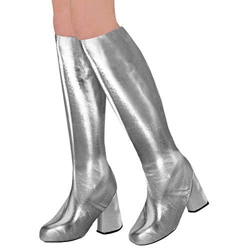shoperama 70er Metallic Damen Stiefel Überzieher Stulpen glänzend Disco Festival Show Revue Space-Girl Kostüm-Zubehör, Farbe:Silber