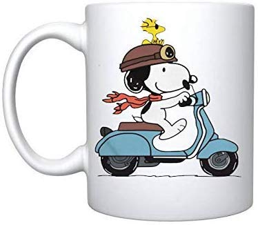 Rael Esthe Snoopy and Woodstock ride moto - Taza de regalo de...