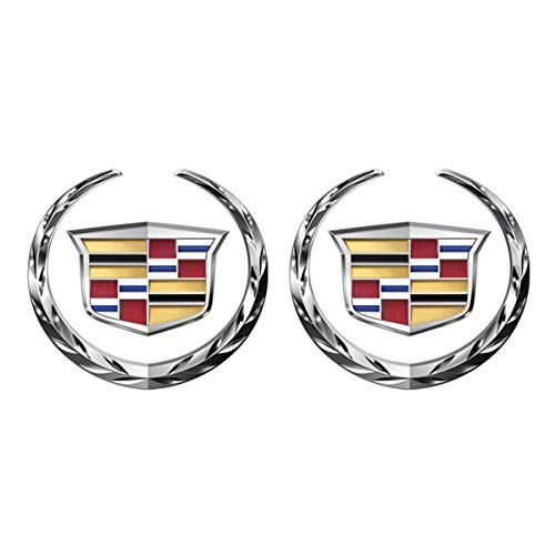 Emblem Badge for Cadillac, 6cm Grille Wreath & Crest Emblem Silver Plated 3D Logo Symbol Stickers Metal Decals Labeling for Cadillac Escalade, 2 Pack (DIY)
