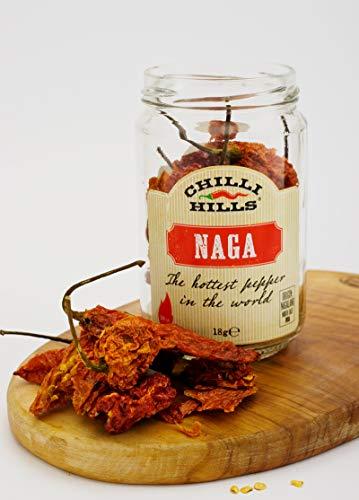 Chilli Hills chiles deshidratados NAGA (Ghost chiles). Los mejores chiles y los más picantes, cultivados en nuestro huerto familiar y deshidratados a conciencia para conservar su sabor. 18 gramos