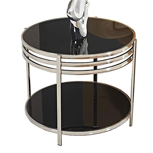 KST Hoektafel, rond, van roestvrij staal, bijzettafel van gehard glas, twee lagen, kan als bijzettafel, salontafel, telefoontafel, lampentafel, nachtkastje
