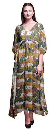 Bimba Honey Orange Tropical Leaves,Stripe & Parrot Bird Beach Kaftan Bikini Cover up Women's Maxi Dress Long Caftan-S-L