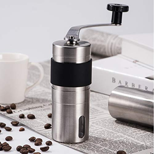 SHUHAN Coffee Grindes Coffee Tools Portable Conical Burr Mill Manual Stainless Steel Hand Crank Coffee Bean Grinder with Silicone Ring, Capacity: 40g Kitchen Appliances