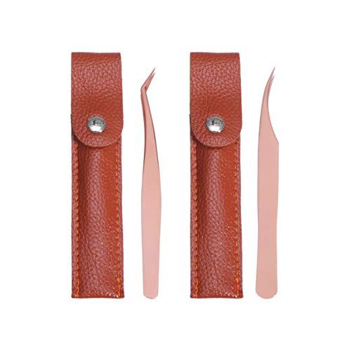 Minkissy Jeu de pincettes à cils 4 pincettes à cils avec étui à cils de précision outils à cils en acier inoxydable pincettes droites et courbes pour dames