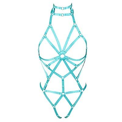 Women's body harness bra set Garter Punk Gothic garter Soft Elasticity Cage Openwork Dance Lingerie Accessories (Jade green)