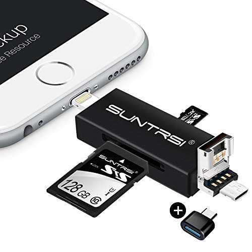 suntrsi TF/SD Card Reader compatible with iPhone/OTG Android/Computer, Micro SD Card Reader compatible with iPhone/iPad Charging,Compatible to SD Card Camera Adapter 'x disk'