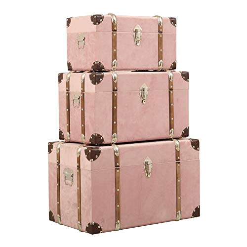 Maleta Vintage, Decoracion, Remache Apilable Manejas Almacenamiento Hotel Superior Ropa De Cama Conjunto De 3 ,5 Colores GGYMEI (Color : Pink)
