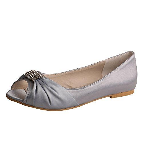 Wedopus MW1361 Strass Peep Toe Ballerinas Satin Hochzeit Braut Party Schuhe f¨¹r Frauen Gr??e 10 Silber