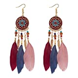 YAZILIND Hook Earrings Alloy Round Pendant with Beads Feather Bohemian Ethnic Style Jewellery for Women (Color)