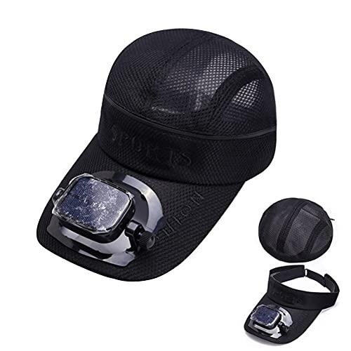 GZZG Sombrero con Ventilador, Tapa de béisbol de Aire Acondicionado con Carga Solar USB, Sombrero Inteligente de Verano para Hombres y Mujeres Parejas (Color : Black, Size : 7 3/8)
