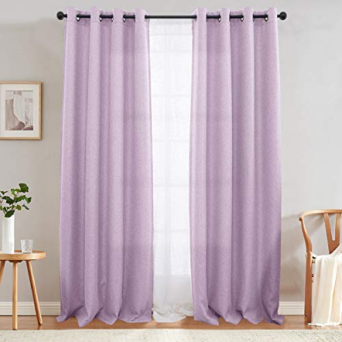 jinchan Curtains for Bedroom Heavy Room Darkening Curtain Panels 84 inches Long Linen Textured Window Drapery 1 PanelLilac