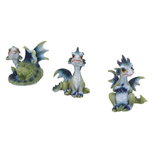 Nemesis Now Triple Trouble Small Set of Three Dragon Infant Ornaments, Green, 15.5cm