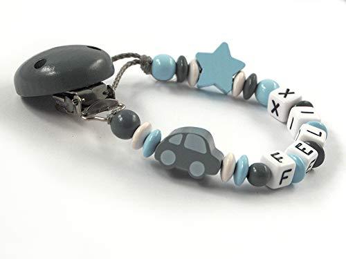Schnullerkette mit Namen mit 3-8 Buchstaben Auto Stern - dunkelgrau, grau, hellblau, weiß (5 Buchstaben)